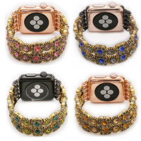 Women S Bling Agate Strap For Apple Watch Series 1 2 3 Band Retro Crystal Bracelet