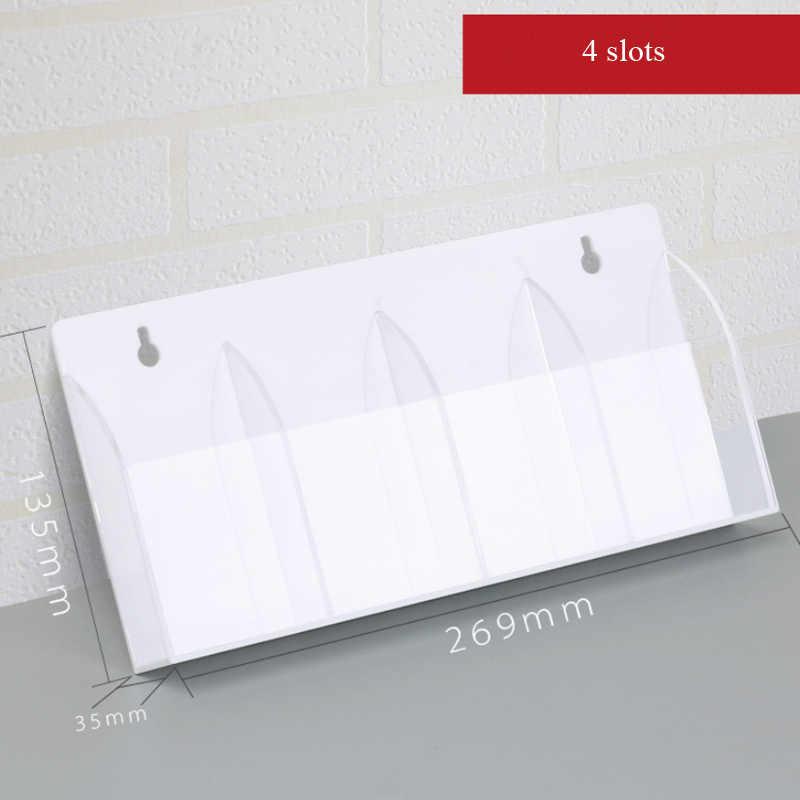 4/5 חריצים מרחוק בקר מחזיק AC בקרת אחסון תיבת אקריליק ברור-לבן אחסון תיבת קיר-רכוב שלט רחוק מתלה מקרה