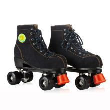 Roller Skates Black Genuine Leather With Led Lighting Wheels Double Line Skates Adult 4 Wheels Two line Roller Skating Shoes