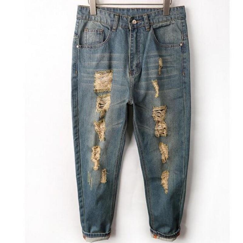 2017 Hole Ripped jeans For man Denim Knee Hole Zipper Biker mens harem jeans pants Destroyed Torn Jean Pants Pencil Jeans Size обручальное кольцо korloff золотое обручальное кольцо с бриллиантами byzandkwg 19