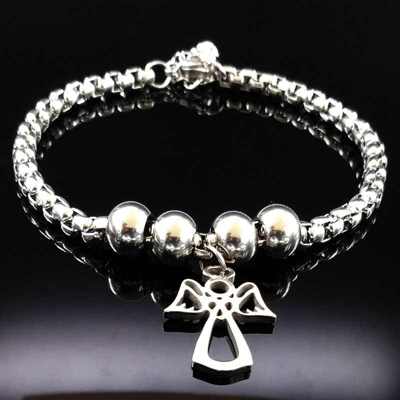 2019 Fashion Angel Silver Color Stainless Steel Bracelet for Women Stainless Steel Bead Bracelet Jewelry pulsera B61274