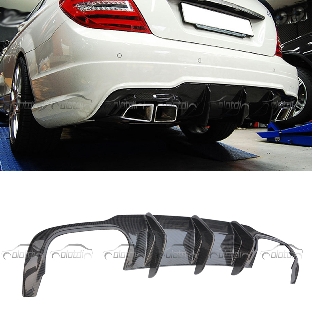For Mercedes Benz C Class AMG <font><b>C300</b></font> Sport 2012-2014 A Style Car Styling Carbon Fiber <font><b>Rear</b></font> Lip Bumper Splitter <font><b>Diffuser</b></font> image