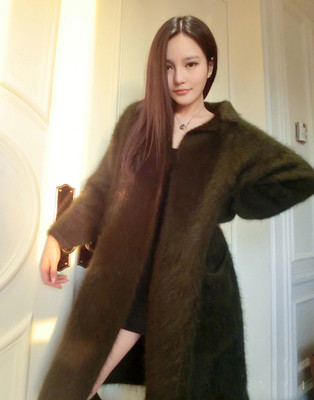 2019 Autumn And Winter New European Mink Cashmere Cardigan Sweater Female Long Coat Thickened Jacket Free