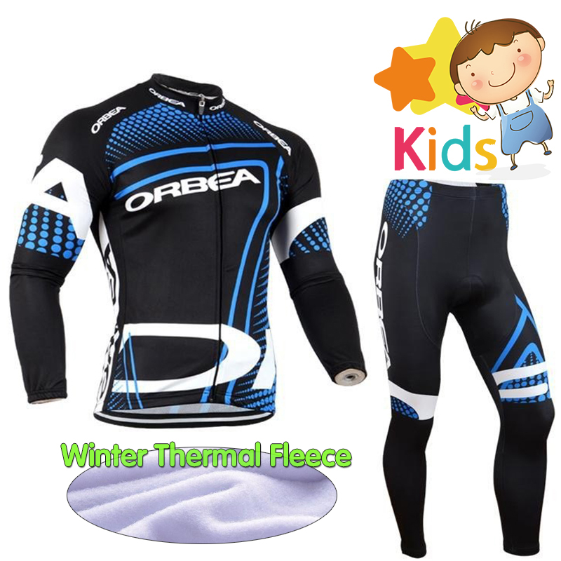 Winter Kids Long Sleeve Cycling Kit Warm Thermal Fleece Pro Cycling Clothing Sets Children Bike Wear Rope Ciclismo Bicycle Wear baby digital fleece suit 2015 autumn winter wear new children s clothing male children s wear fleece draw string fleece pants