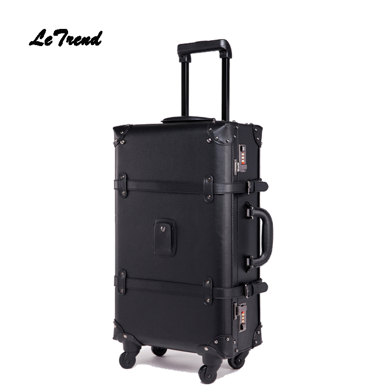 LeTrend Retro Rolling Luggage Spinner Vintage Leather Suitcase Wheel Trolley Women Travel Bag Men Trunk Student Carry On Luggage new fashion eva scooter rolling luggage women red trolley 20 boarding box men carry on travel bag student suitcase card trunk