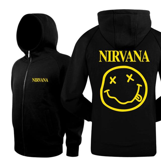 New 2016 Fashion Clothing Thicken Warm Winter Jacket Coats Stand Collar Nirvana Rock Band Casual Mens Hoodies And Sweatshirts