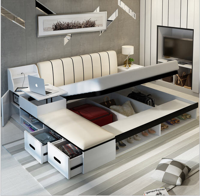 Real Genuine Cow Leather Bed Soft Beds Bedroom Camas Lit Muebles De Dormitorio Yatak Mobilya Quarto Safe Desk Table Book Cabinet