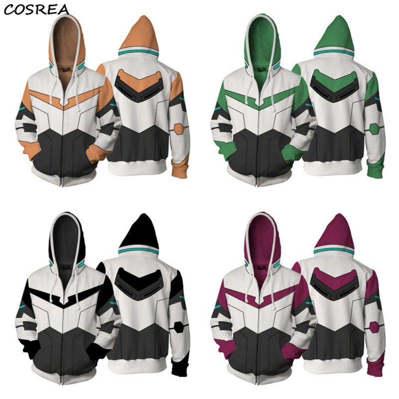 Cosplay Costume Voltron Rance Keith Lance Sven Pidge Halloween Carnival Men Women Sweatshirts 3D Printing Zipper Hooded Sweater