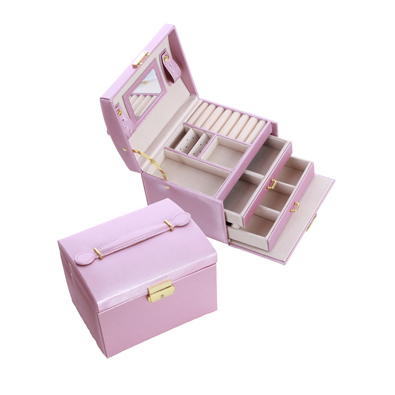 2020 Pu Leather Multi Layer Jewelry Box Drawer Girls Earrings Necklace With Mirror Lock Storage Organizer Case Accessories Supplies From Yueji 37 99 Dhgate Com