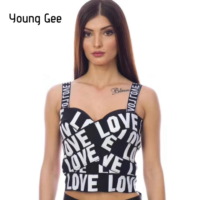 Young Gee LOVE Print Black Tank Tops Cropped Women All-matched Bustier Crop Top Short Mini Tight Bandage Vest Female Streetwear