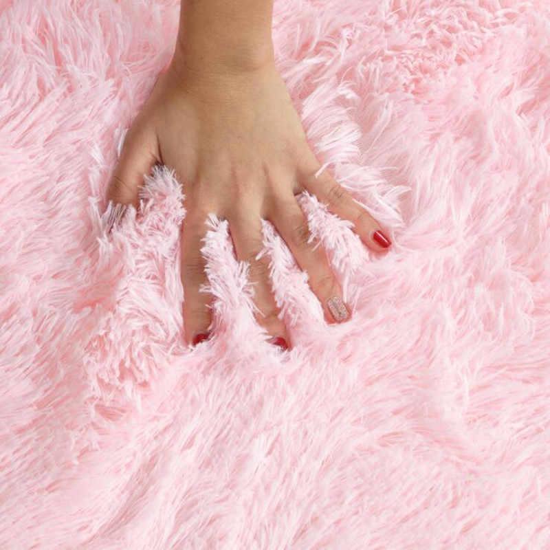 12 цветов мягкие пушистые коврики Противоскользящий лохматый ковер для детской комнаты коврик из искусственного меха для гостиной Европейский пушистый коврик товары для дома