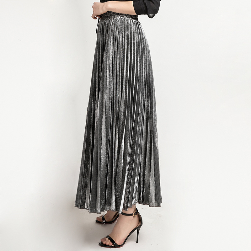 2019 New High Waisted Pleated Skirt Gradient Color Metallic Silver Maxi Long Skirt Woman Casual Party Clothing S XXL in Skirts from Women 39 s Clothing