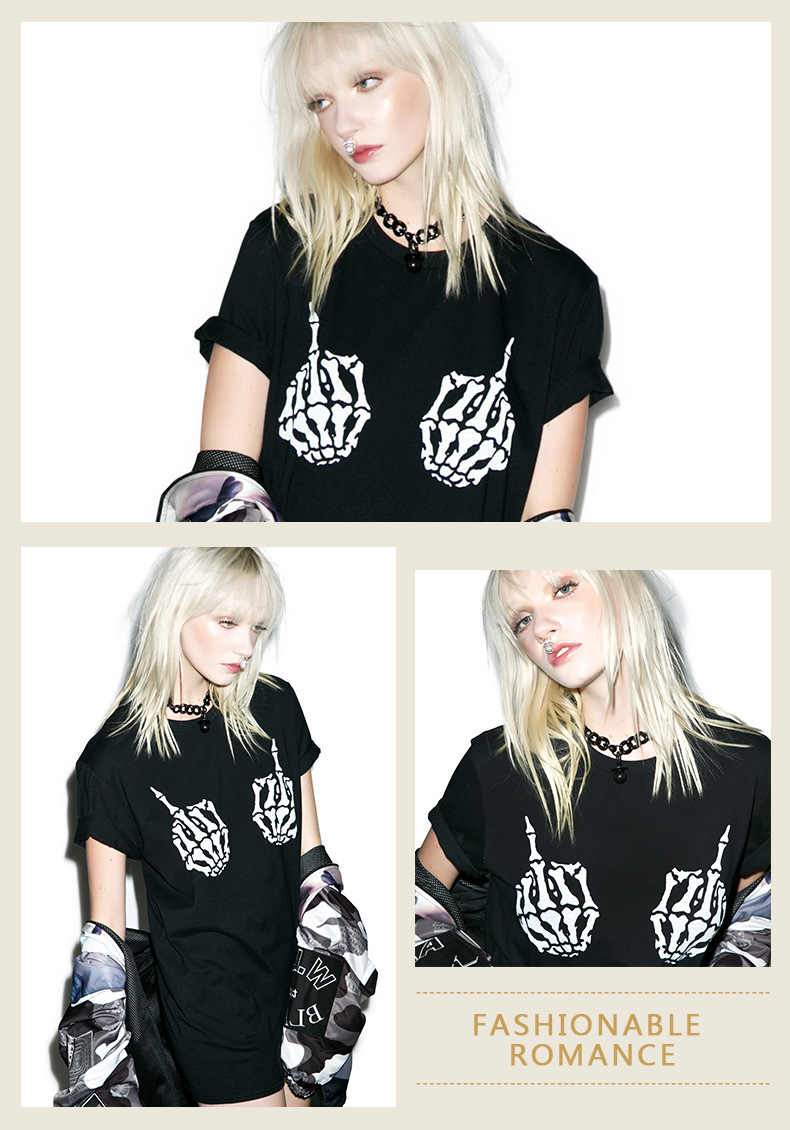2019 летняя футболка с коротким рукавом, женские топы, рука скелета с черепом, футболка в стиле панк, облегающие Топы в стиле хип-хоп, футболка для женщин