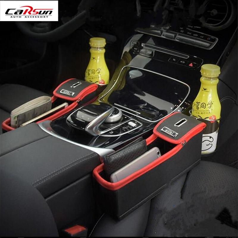 CARSUN noir + rouge PU cuir voiture multi-fonction boîte de rangement siège auto Slot Set boîte poubelle fissuré eau support de verre livraison gratuite