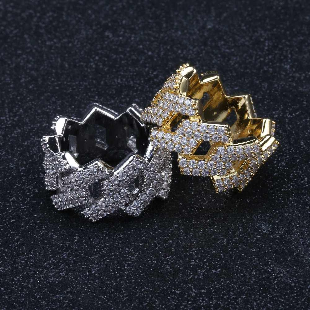 Hip Hop Iced Out ส่วนบุคคลแหวน Mens การตั้งค่า Prong Gold Silver สีเครื่องประดับ Bling Cubic Zirconia แหวนเครื่องประดับ Charm