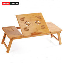 MAGIC UNION Portable Folding Bamboo Laptop Table Sofa Bed Home Laptop Stand Computer Notebook Desk Bed Dining Table Plus Size