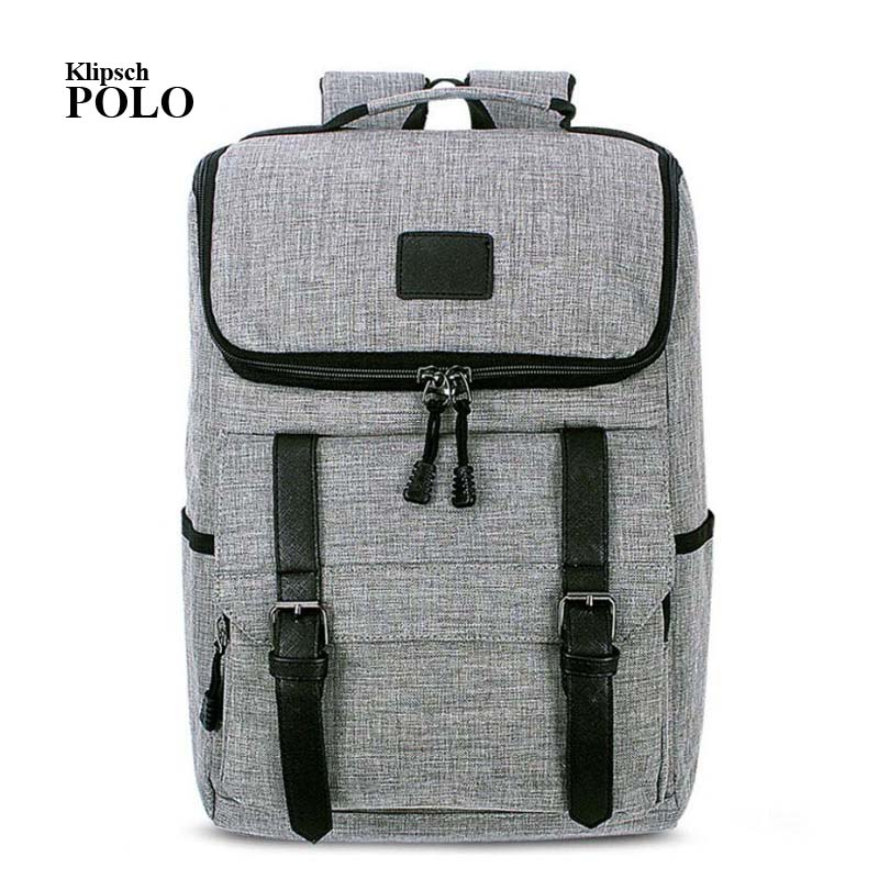 Hot Sale 2017 New Fashion Arcuate Leisure Men s Backpack Zipper Solid Canvas Backpack School Bag