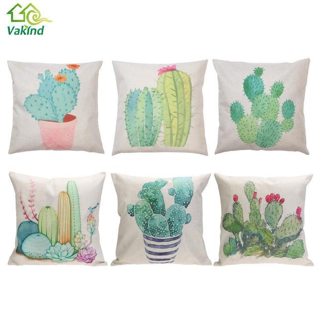 Algodón Lino moderno Cactus planta patrón burbuja sofá almohada ...