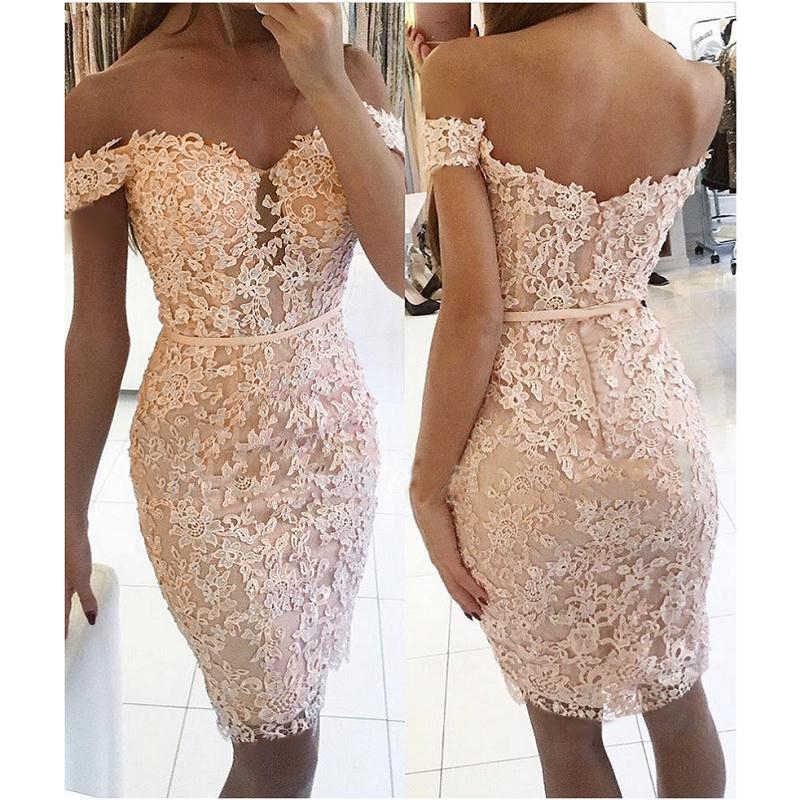 New Women's Dress Solid Off Shoulder Backless Bodycon Lace Summer Party Cocktail Prom Women Dress