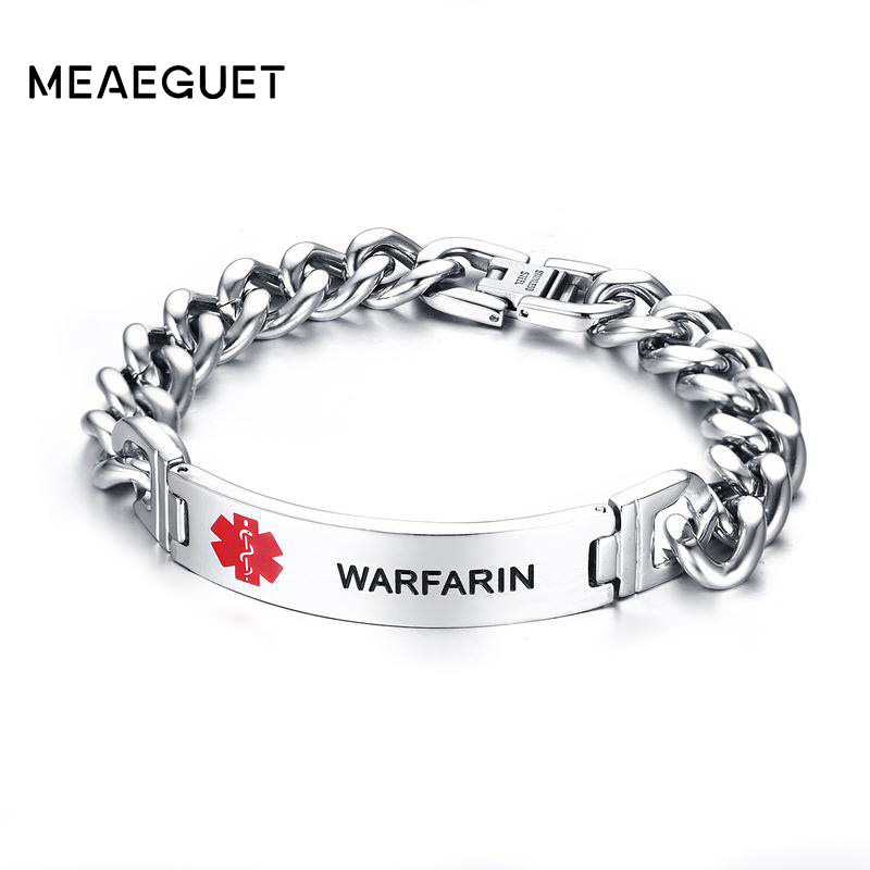Meaeguet Engraved Blood Thinner Epilepsy Diabetes Pacemaker Bracelet Bangle For Men Stainless Steel Medical Alert Id