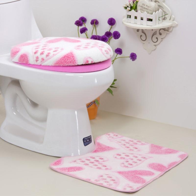 3 Pieces/Set Warm Heart Pattern Anti-Silp Bath Mat Flannel Contour Rug Lid Toilet Cover Carpet Bathroom Set