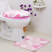 цена на 3 pieces/set Warm Heart Pattern Anti-silp Bath Mat Flannel Contour Rug Lid Toilet Cover Carpet Bathroom Set