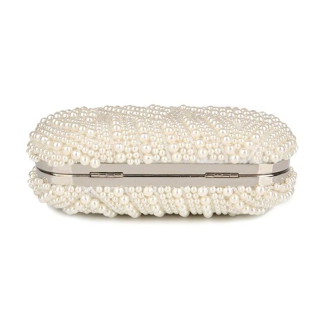 100% Hand made Luxury Pearl Clutch bags Women Purse Diamond Chain white Evening Bags for Party Wedding black Bolsa Feminina 3