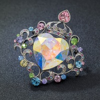 Real Big Rainbow Austrian Crystals Rhinestone Heart Love Brooch Broach Pins Women Jewelry Wedding Accessories Gifts 3846X