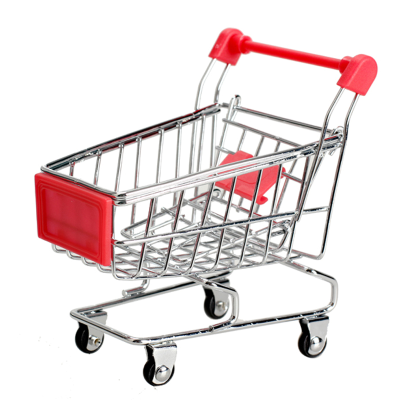 Cute Child Storage Box For Toys Mini Supermarket Handcart Shopping Utility Cart Mode Toy Storage Red Container For Toys