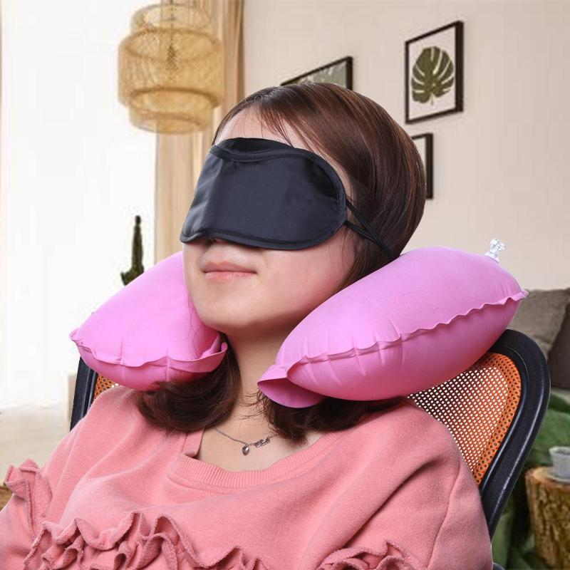 3psc/набор, новая u-образная подушка для шеи, для путешествий, автомобиля, для воздушного полета, надувные подушки, поддержка шеи, подголовник, подушка с крышкой для глаз, беруши