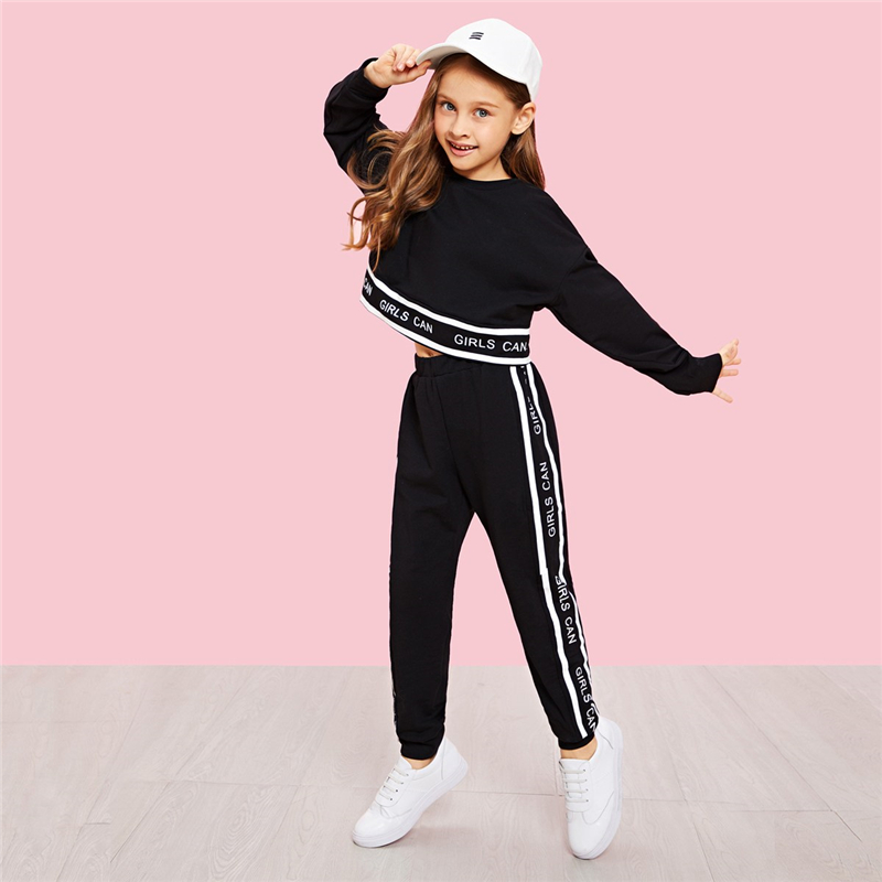 SHEIN Girls Lettering Trim Casual Pullover And Pants Set Kids Clothing 19 Spring Active Wear Long Sleeve Girls Clothes 5