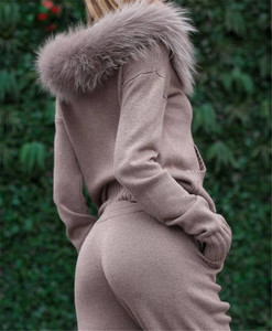 Image 2 - New 2020 Autumn Winter Women Knitted Tracksuit Fur Collar Zipper Hooded Coats+Elastic Casual Pants 2 Pieces Set Women Knit Suit