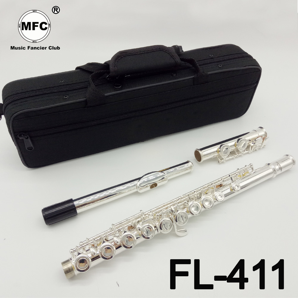 Music Fancier Club Intermediate Standards Flute FL-411 Student Flutes Silver Plated 16 17 Holes Closed Open Hole With CaseMusic Fancier Club Intermediate Standards Flute FL-411 Student Flutes Silver Plated 16 17 Holes Closed Open Hole With Case