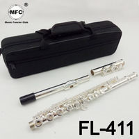 Music Fancier Club Intermediate Standards Flute FL 411 Student Flutes Silver Plated 16 17 Holes Closed Open Hole With Case