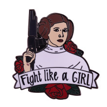 Lotta come una ragazza femminista spilla Star wars principessa Leia pin girl power distintivo regalo delle donne pop cultura accessorio(China)
