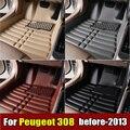 Esteiras do Assoalho do carro para Peugeot 308 2009-2013 anos XPE + Couro Anti-slip tapete do carro Dianteiro & Traseiro Forro Auto tapete Impermeável 4 cor