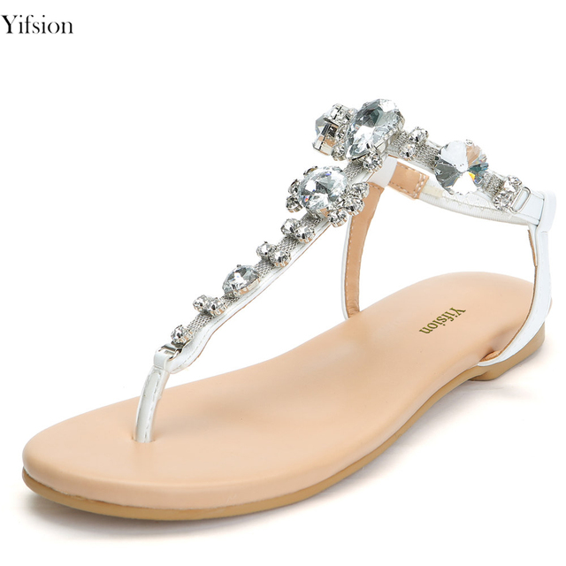 Yifsion Women Flat With Sandals Ladies Gladiator Shoes Flip Flops Rhinestone  Sandals Silver Party Shoes Women US Plus Size 4-15