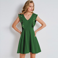 2018 New Deep V Collar Flying Sleeve Rivet Solid Color Dress Summer Fashionable Slim Green Temperament
