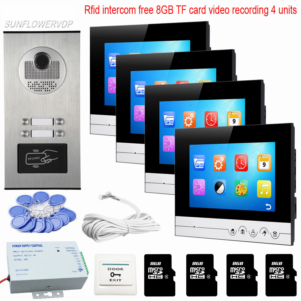 Rfid Video Intercom For The Apartment 4 Units Video Phone With 8GB TF Memory Card Video Recording Door Phone Intercom Touch key