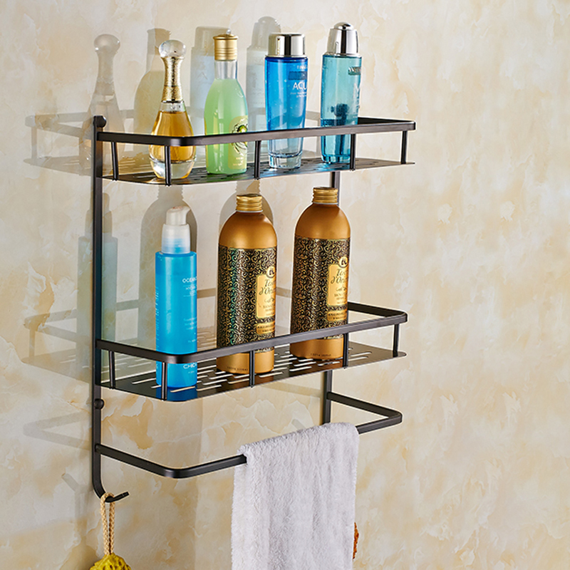 Solid Brass Wall Mounted Commodity Shelf Double Tier with Towel Bar Hooks Oil Rubbed Bronze Bathroom Storage Rack classic black oil rubbed brass wall mounted bathroom towel rack shelf rails double bar wba120