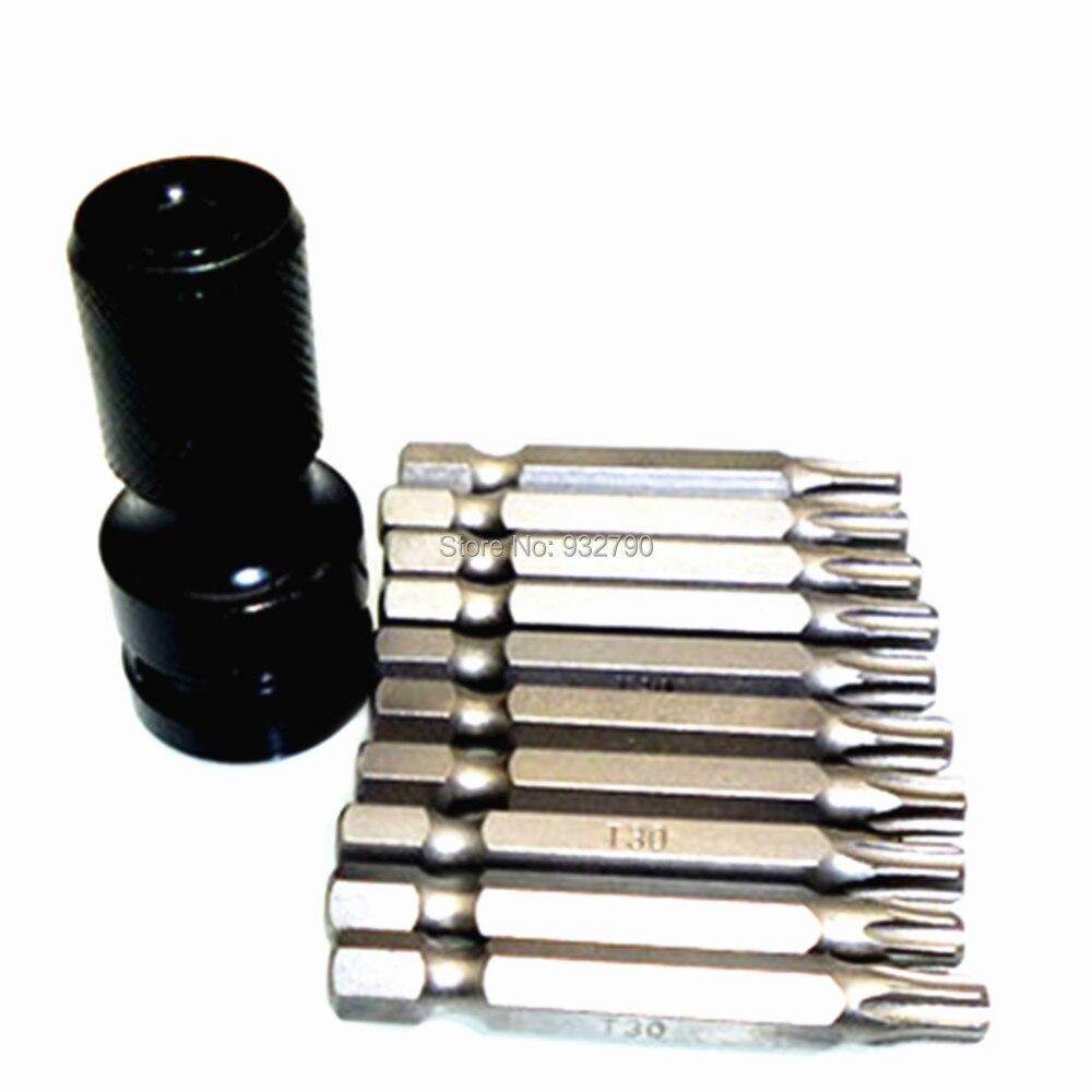 "T30 Type 1//4/"" Hex Shank 75mm Long Magnetic Torx Screwdriver Bit 10pcs"