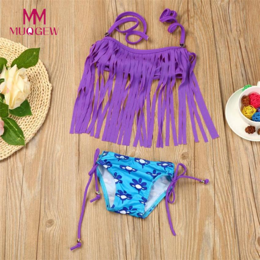 2Pcs Kids Baby Girl Tassels Swimsuit Swimwear Bathing -2053