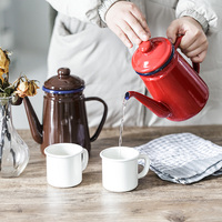 Japanese Enamel Coffee Kettle with Cover Household Hand Flushing Coffee Pot Kitchen Oil Pot Boiling Water Teapot Hot Water Pot