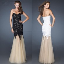 2013 New Arrival Strapless Lace Mermaid Long Evening Prom Dresses Gowns E2490