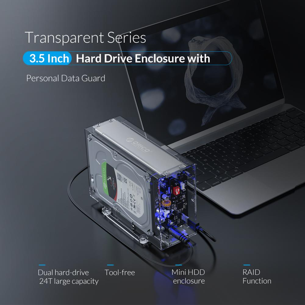 Image 2 - ORICO Daul 3.5 USB C HDD Case With Raid Function 10Gbps SATA to USB C Transparent With Aluminum HDD Dock Station UASP 24TB-in HDD Enclosure from Computer & Office
