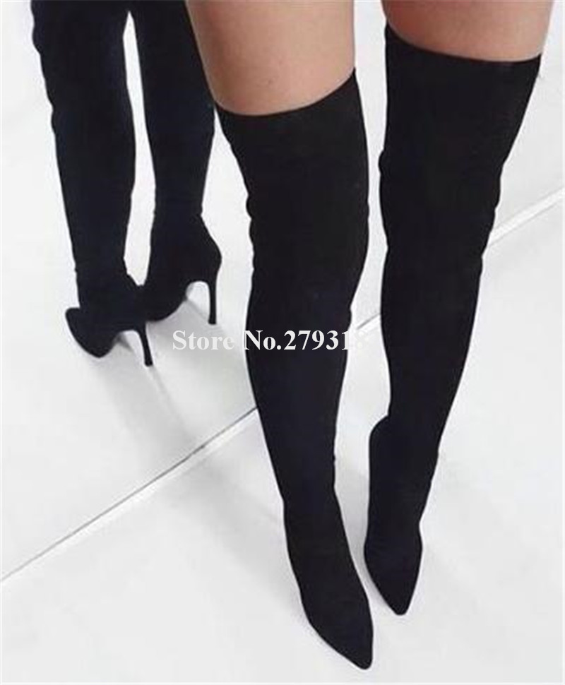 Brand Fashion Women Pointed Toe Suede Leather Thin Heel Over Knee Boots Black Grey Slim Long High Heel Boots Club Shoes цена 2017
