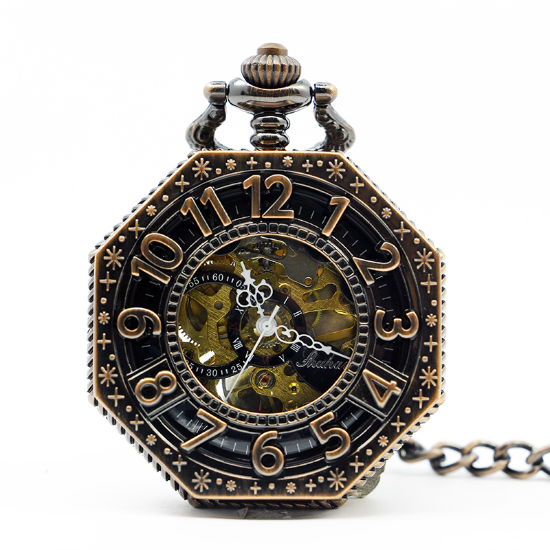 Skeleton Steampunk Automatic 3 Color Mechanical Pocket Watch Hollow Roman Numbers Dial Design With Fob Chain PJX1269