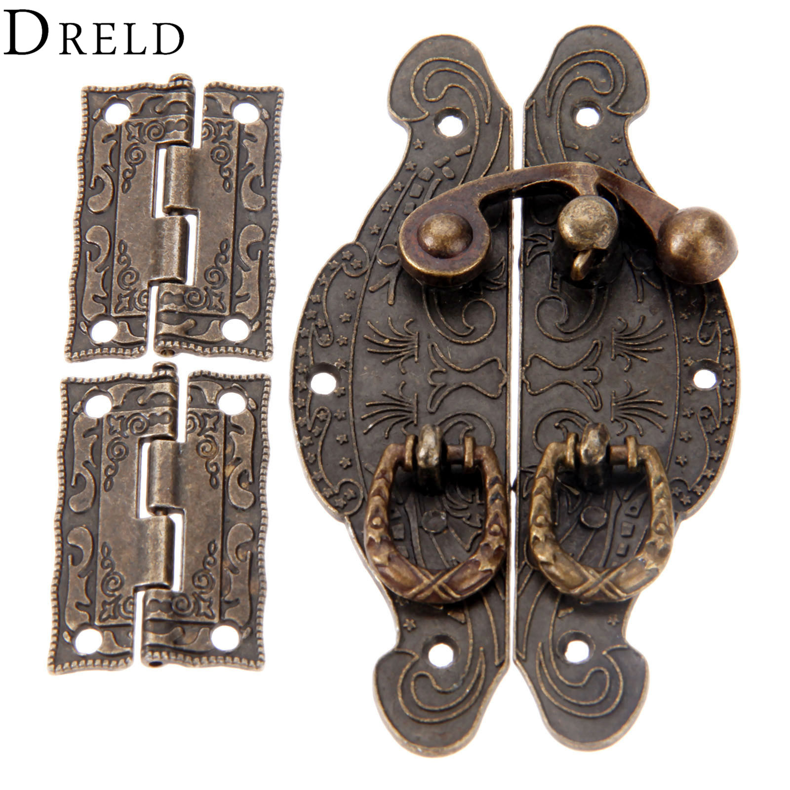 Dreld 2pcs Antique Bronze Cabinet Hinges +jewelry Wooden Box Case Toggle Hasp Latch Furniture Accessories Vintage Hardware