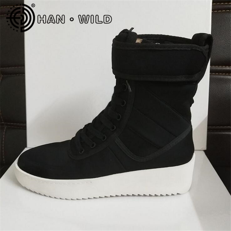 Justin Bieber Fear of God Ankle Boots 100% Genuine Leather Kanye West Boots Men Casual Shoes FOG Platform Botas Knight Boots 2017 fear of god forth collection 1 1 fog justin bieber side zipper casual pants men hiphop casual jogger pants trousers