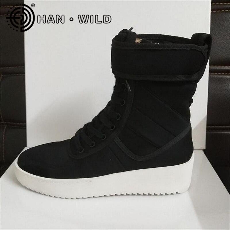 Justin Bieber La Peur de Dieu Cheville Bottes 100% En Cuir Véritable kanye West Bottes Hommes Casual Chaussures BROUILLARD Plate-Forme Botas Chevalier bottes